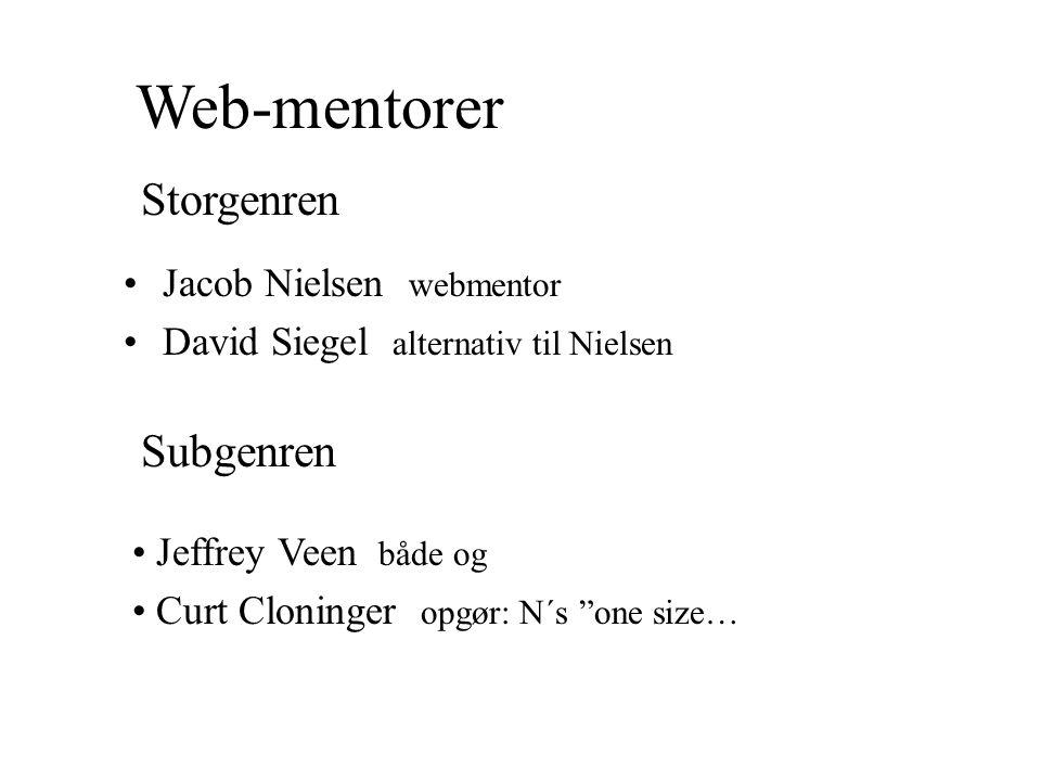 Web-mentorer Storgenren Subgenren Jacob Nielsen webmentor