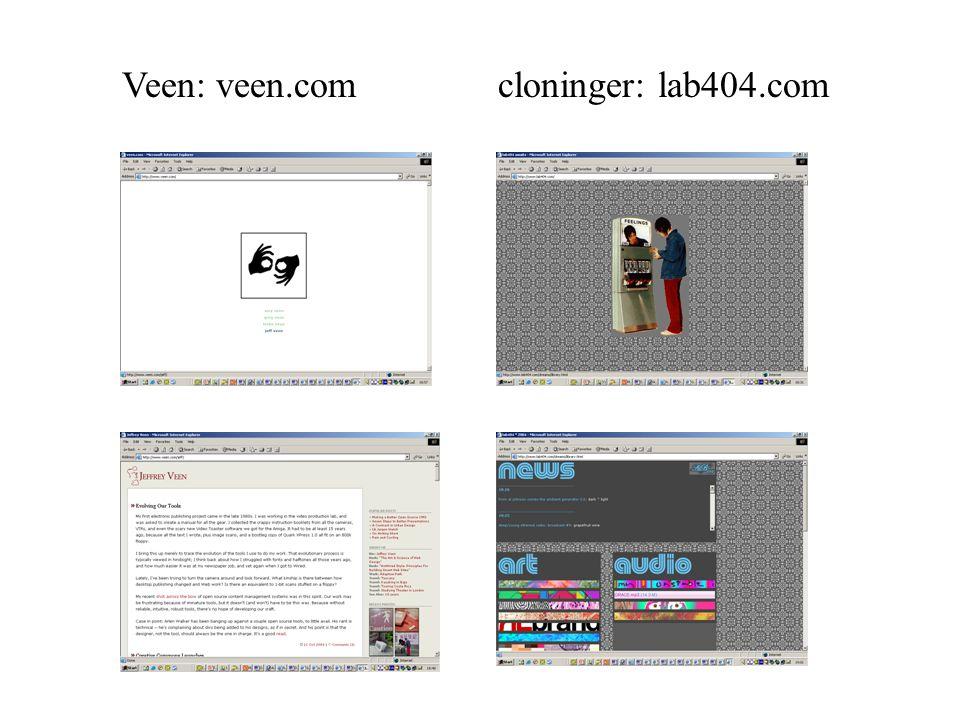 Veen: veen.com cloninger: lab404.com