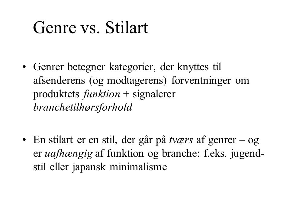 Genre vs. Stilart