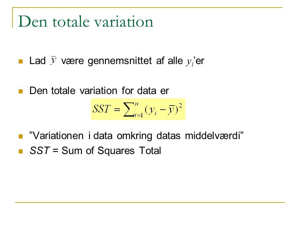 Den totale variation Lad være gennemsnittet af alle yi'er
