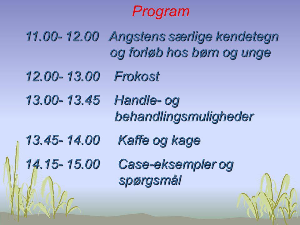 Program 11.00- 12.00 Angstens særlige kendetegn og forløb hos børn og unge. 12.00- 13.00 Frokost.