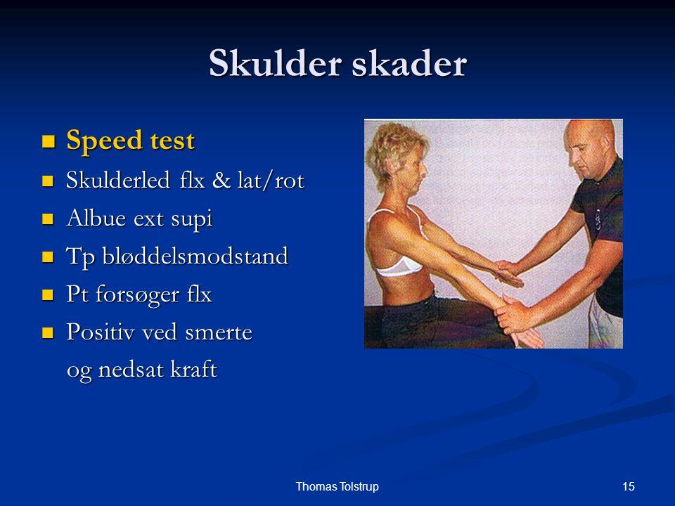Skulder skader Speed test Skulderled flx & lat/rot Albue ext supi