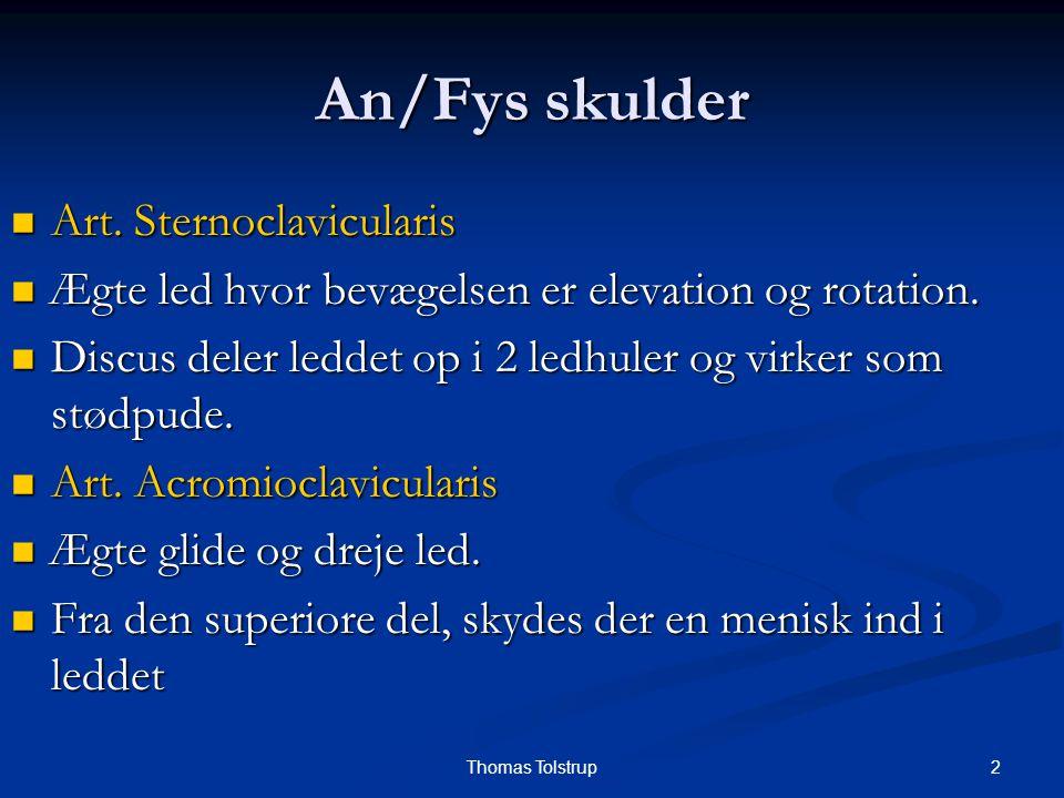 An/Fys skulder Art. Sternoclavicularis