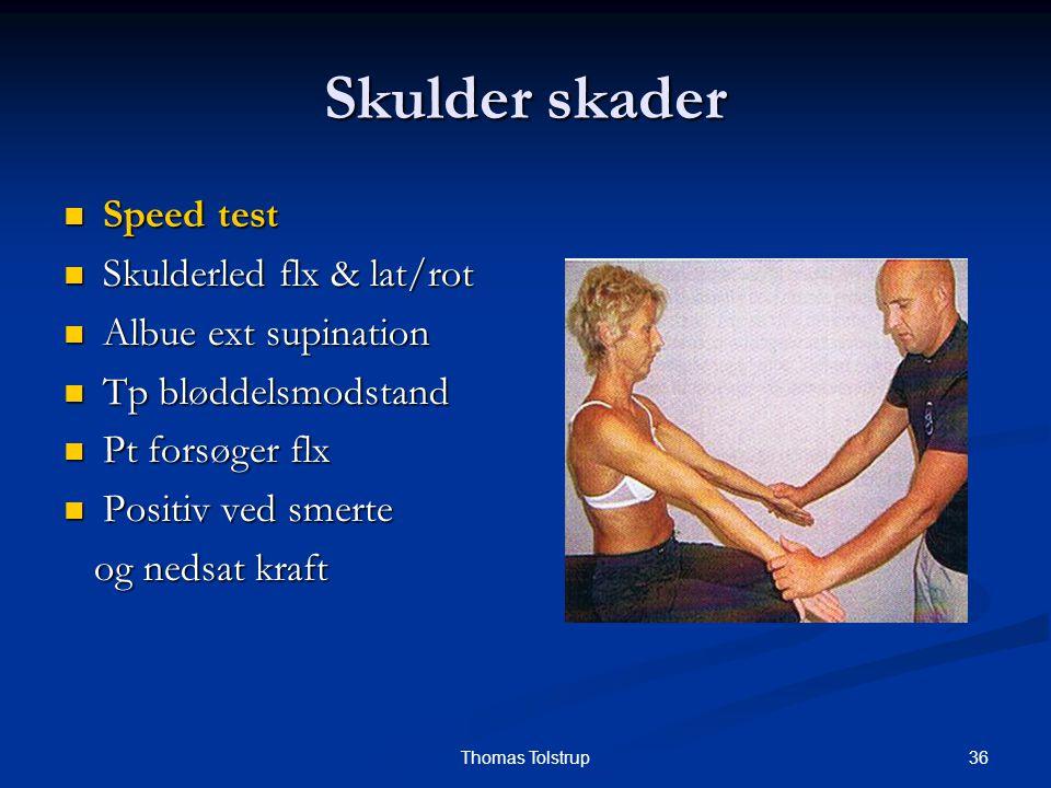 Skulder skader Speed test Skulderled flx & lat/rot