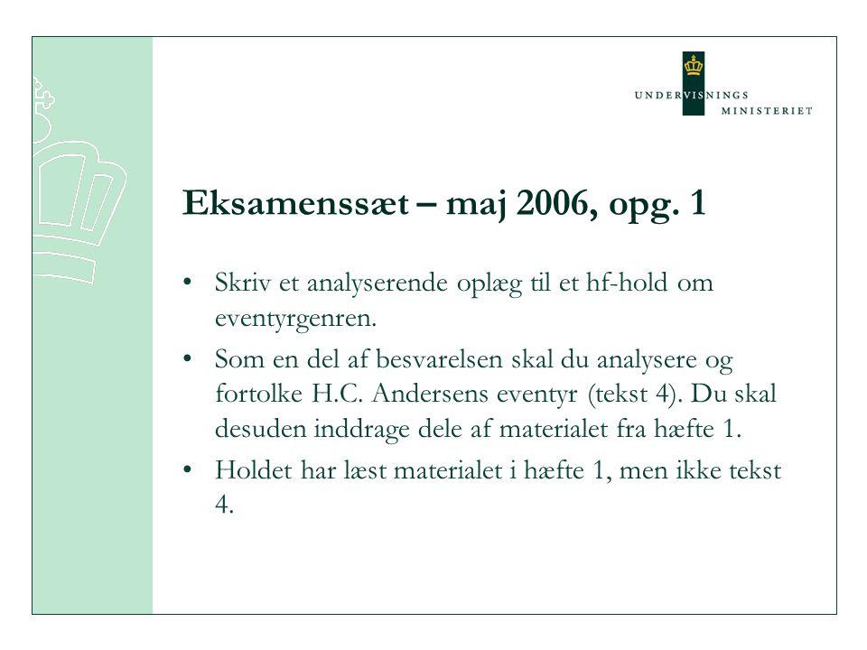 Eksamenssæt – maj 2006, opg. 1 Skriv et analyserende oplæg til et hf-hold om eventyrgenren.