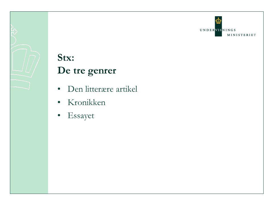 Stx: De tre genrer Den litterære artikel Kronikken Essayet
