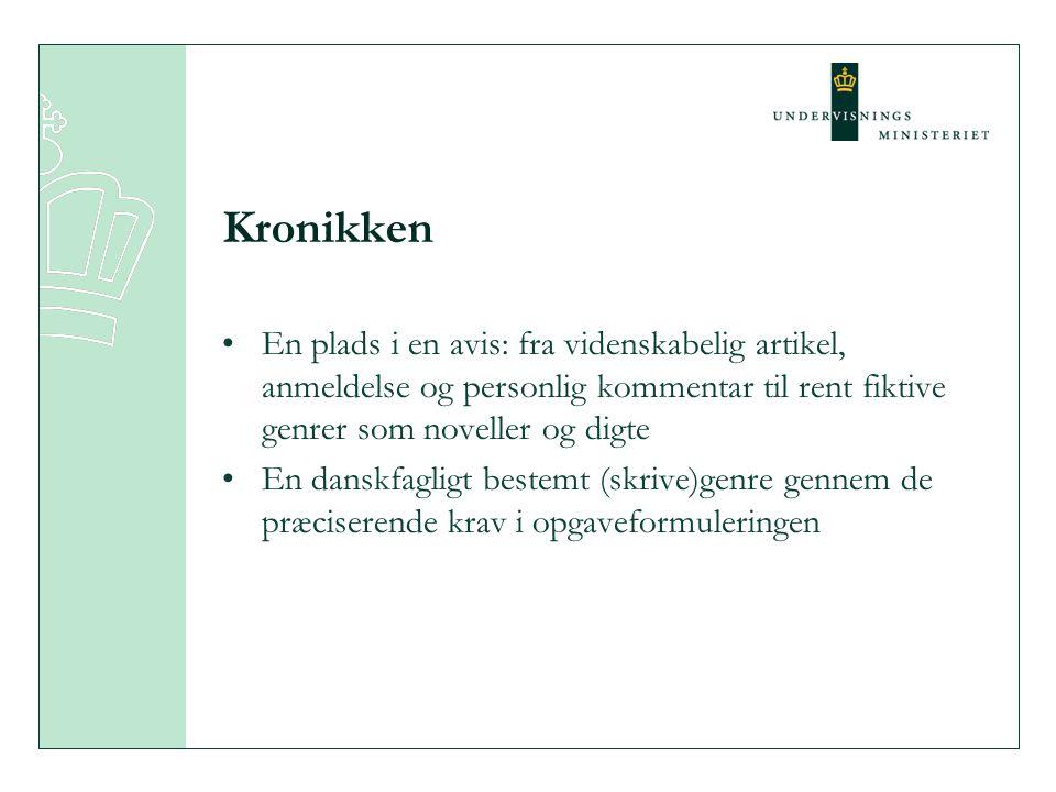 Kronikken En plads i en avis: fra videnskabelig artikel, anmeldelse og personlig kommentar til rent fiktive genrer som noveller og digte.