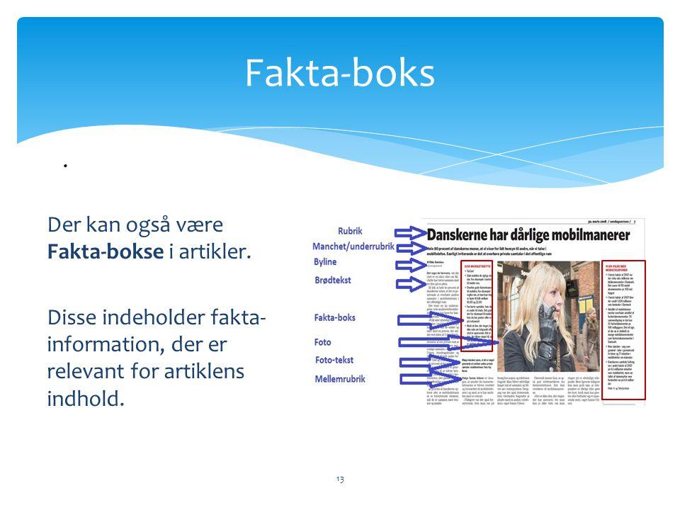 Fakta-boks . Der kan også være Fakta-bokse i artikler.