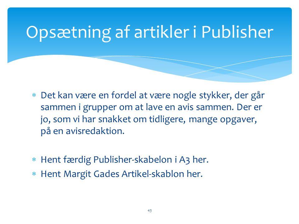 Opsætning af artikler i Publisher