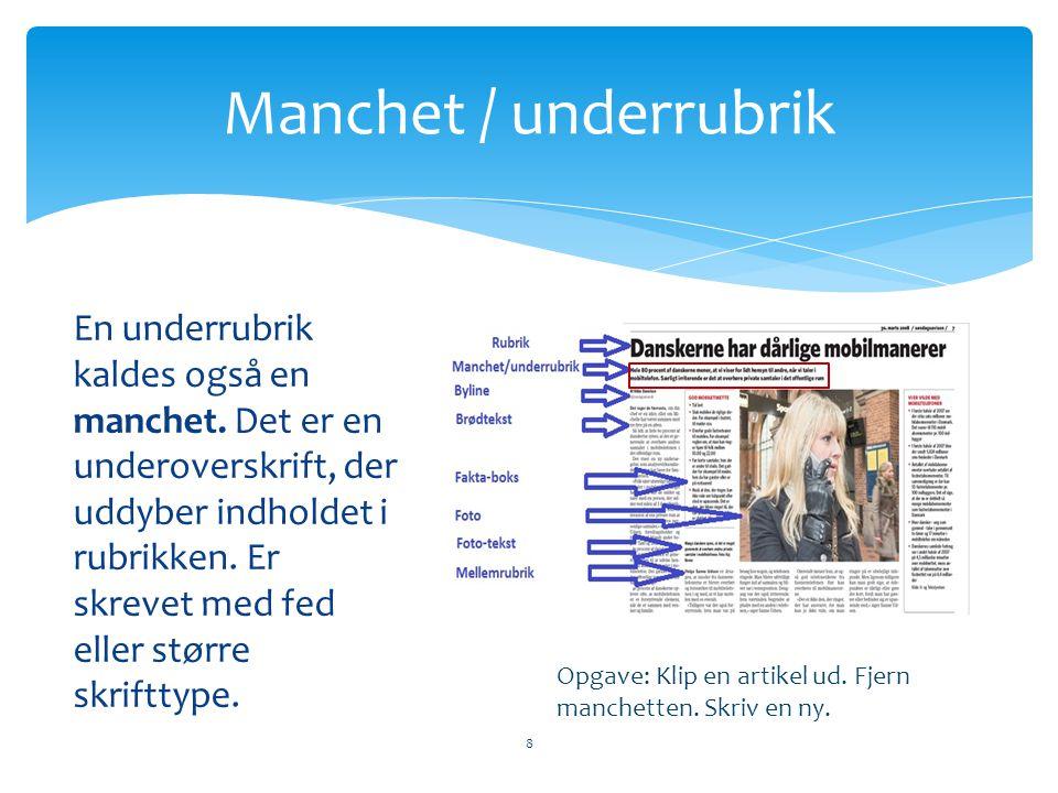 Manchet / underrubrik