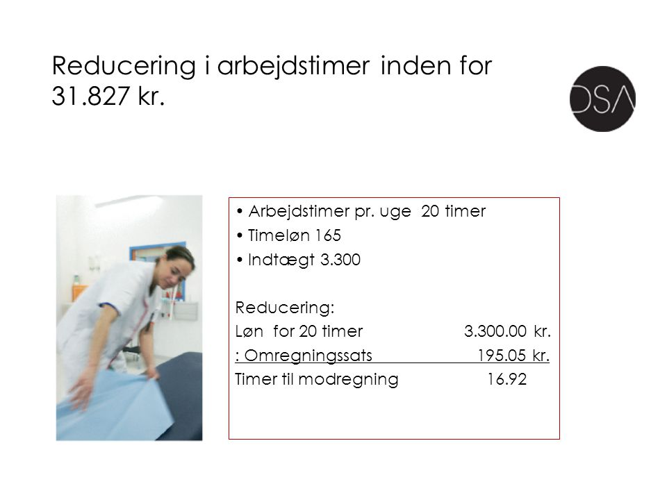 Reducering i arbejdstimer inden for 31.827 kr.