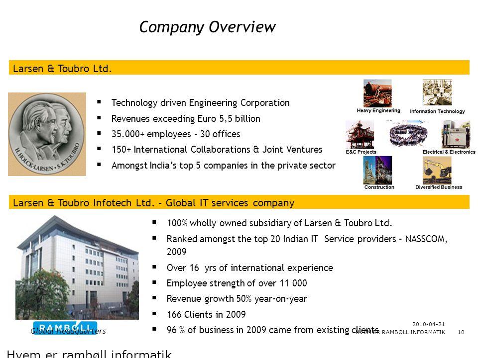 Company Overview Hvem er rambøll informatik Larsen & Toubro Ltd.