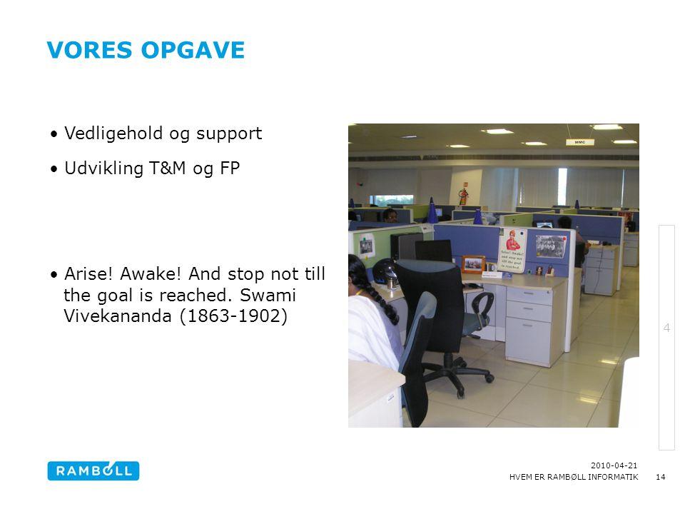 Vores opgave Vedligehold og support Udvikling T&M og FP