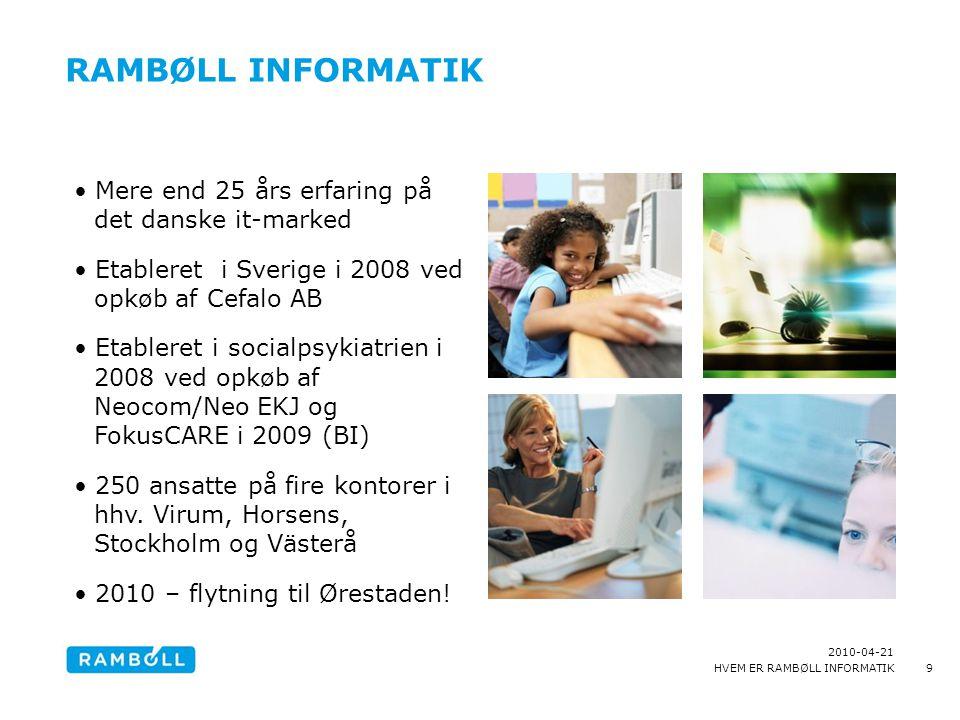 RAMBØLL INFORMATIK Mere end 25 års erfaring på det danske it-marked