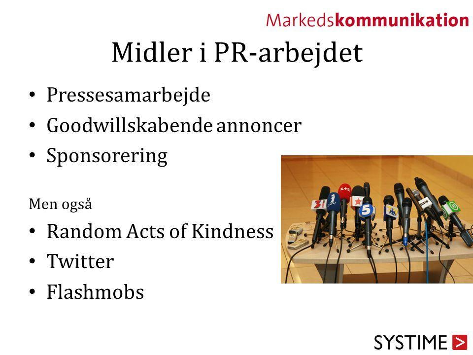 Midler i PR-arbejdet Pressesamarbejde Goodwillskabende annoncer