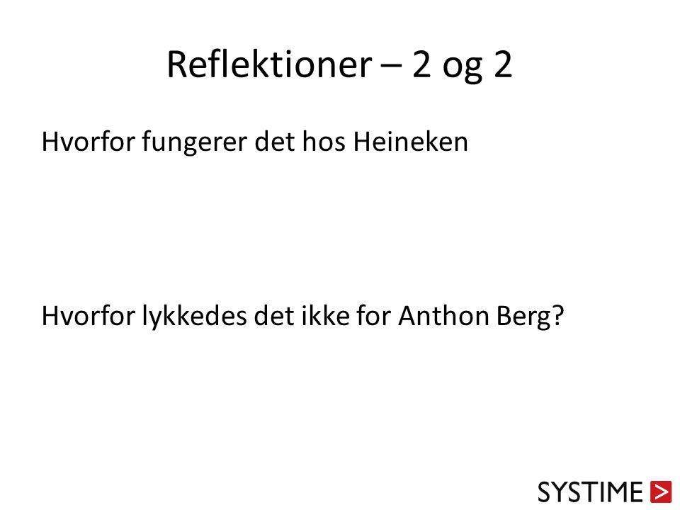 Reflektioner – 2 og 2 Hvorfor fungerer det hos Heineken
