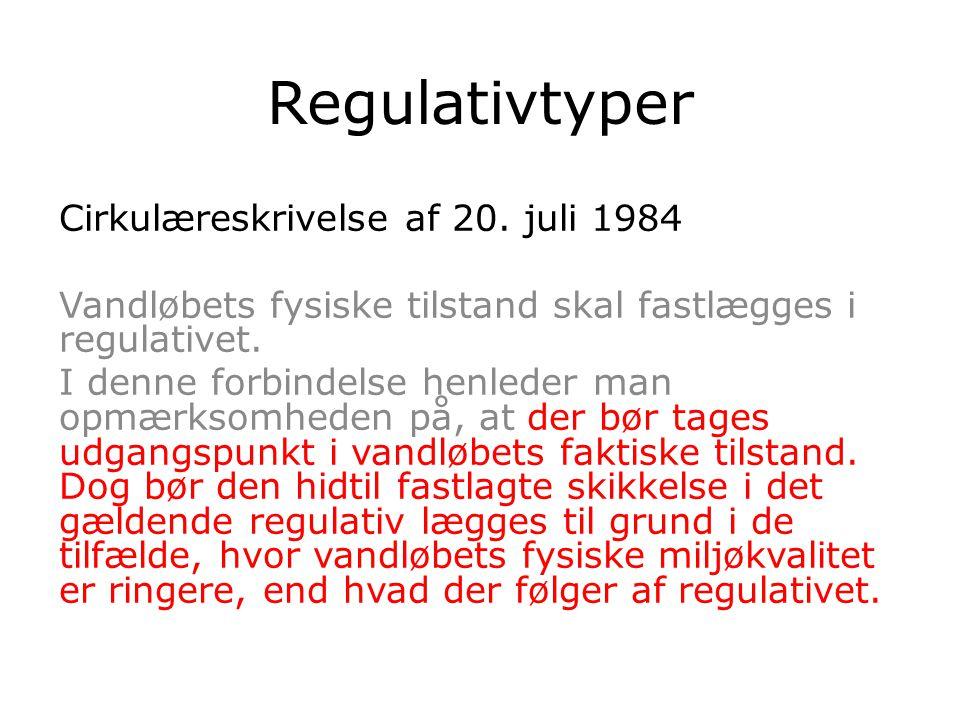 Regulativtyper Cirkulæreskrivelse af 20. juli 1984