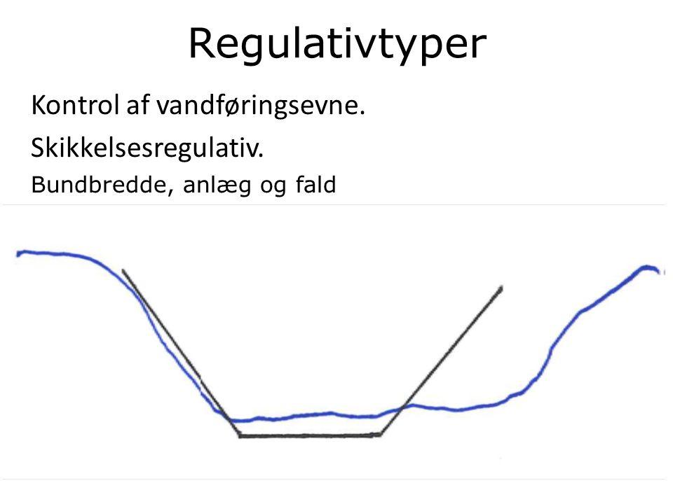 Regulativtyper Kontrol af vandføringsevne. Skikkelsesregulativ.