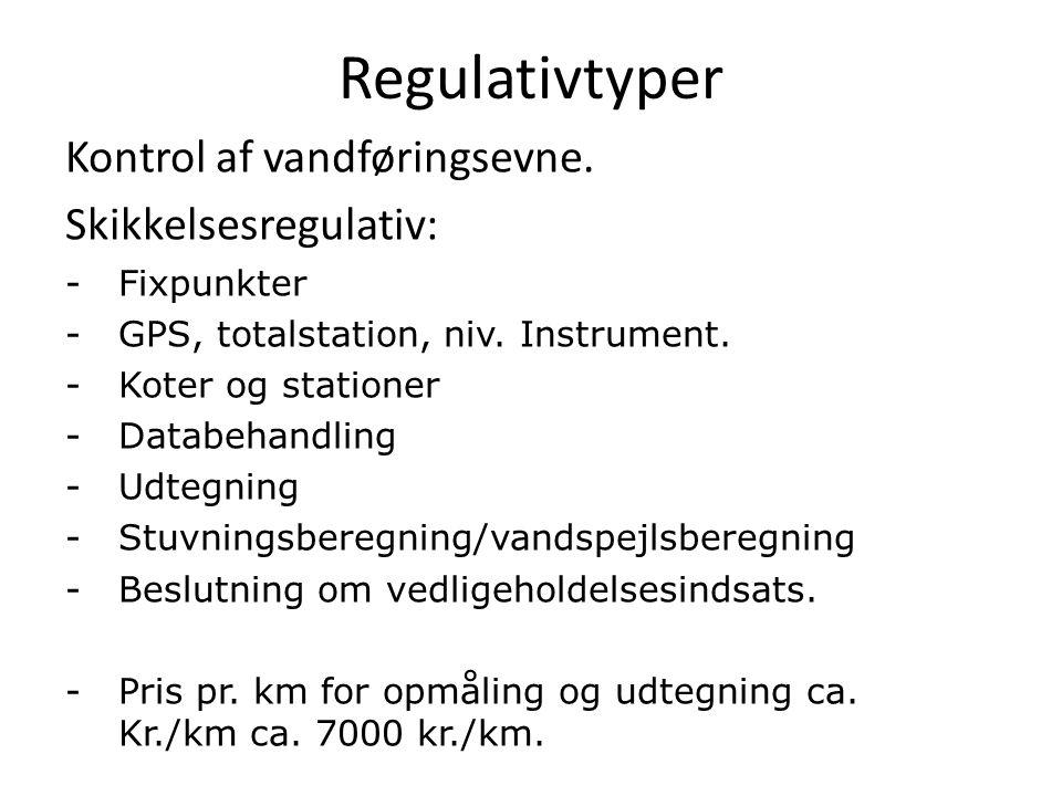 Regulativtyper Kontrol af vandføringsevne. Skikkelsesregulativ:
