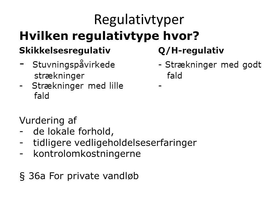 Regulativtyper Hvilken regulativtype hvor