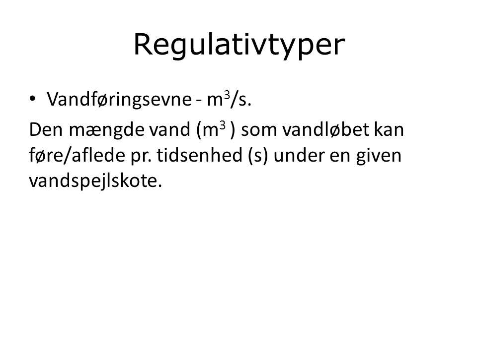 Regulativtyper Vandføringsevne - m3/s.
