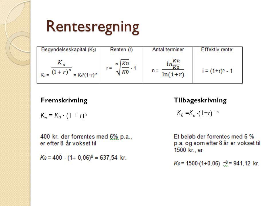 Rentesregning Fremskrivning Tilbageskrivning K0 =Kn (1+r) –n