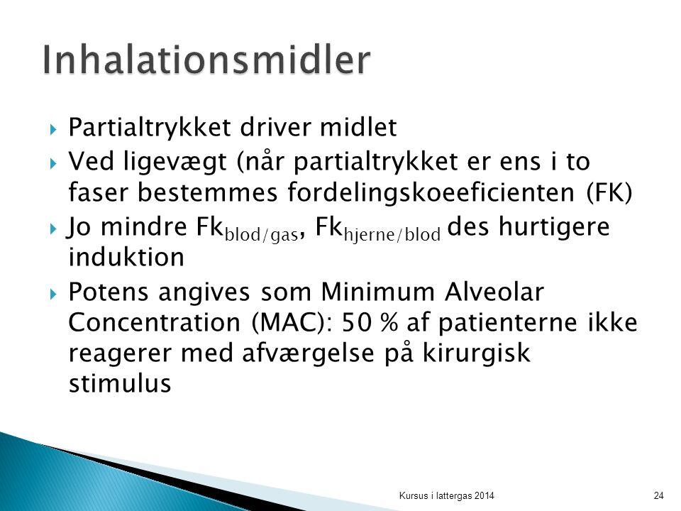 Inhalationsmidler Partialtrykket driver midlet