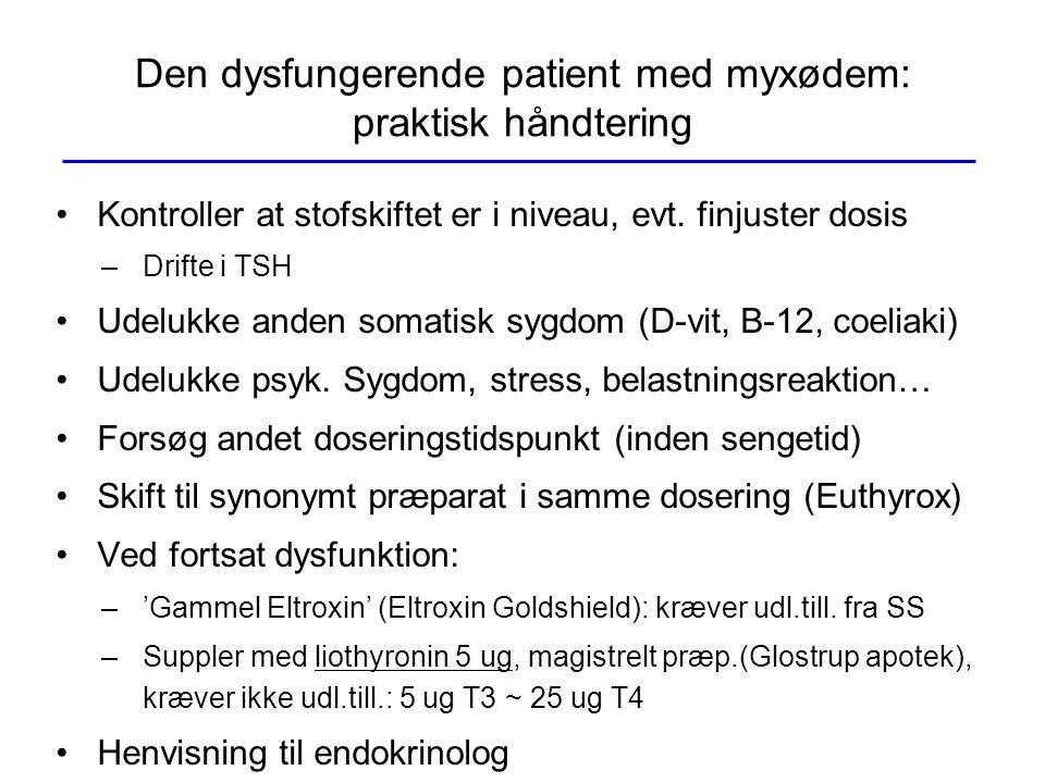 Den dysfungerende patient med myxødem: praktisk håndtering