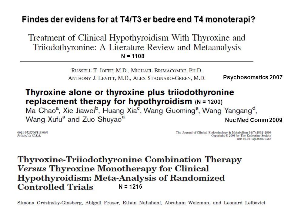 Findes der evidens for at T4/T3 er bedre end T4 monoterapi