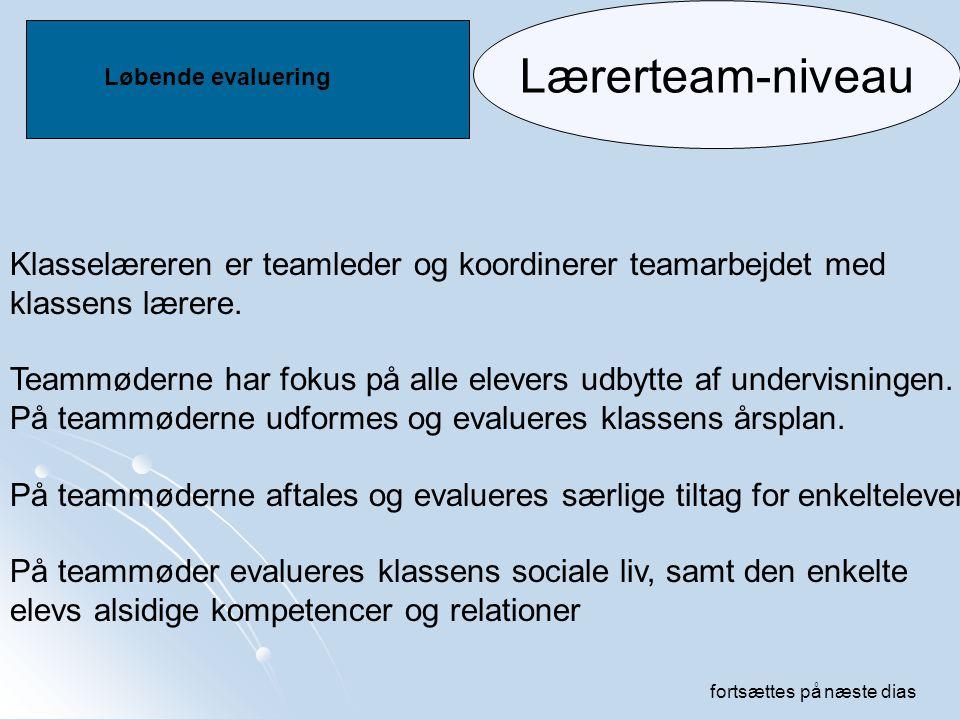 Lærerteam-niveau Løbende evaluering. Klasselæreren er teamleder og koordinerer teamarbejdet med. klassens lærere.