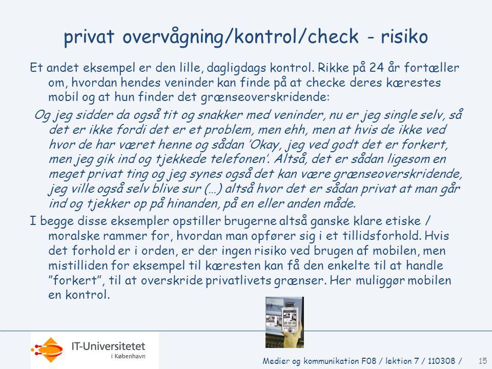 privat overvågning/kontrol/check - risiko