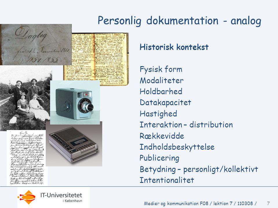 Personlig dokumentation - analog