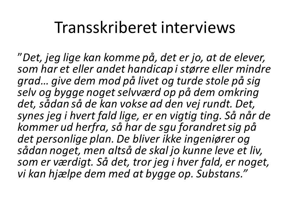 Transskriberet interviews