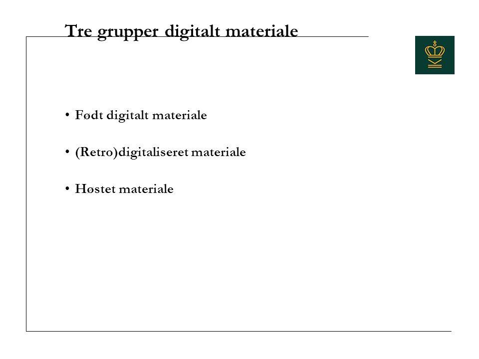 Tre grupper digitalt materiale