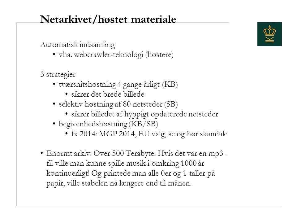Netarkivet/høstet materiale