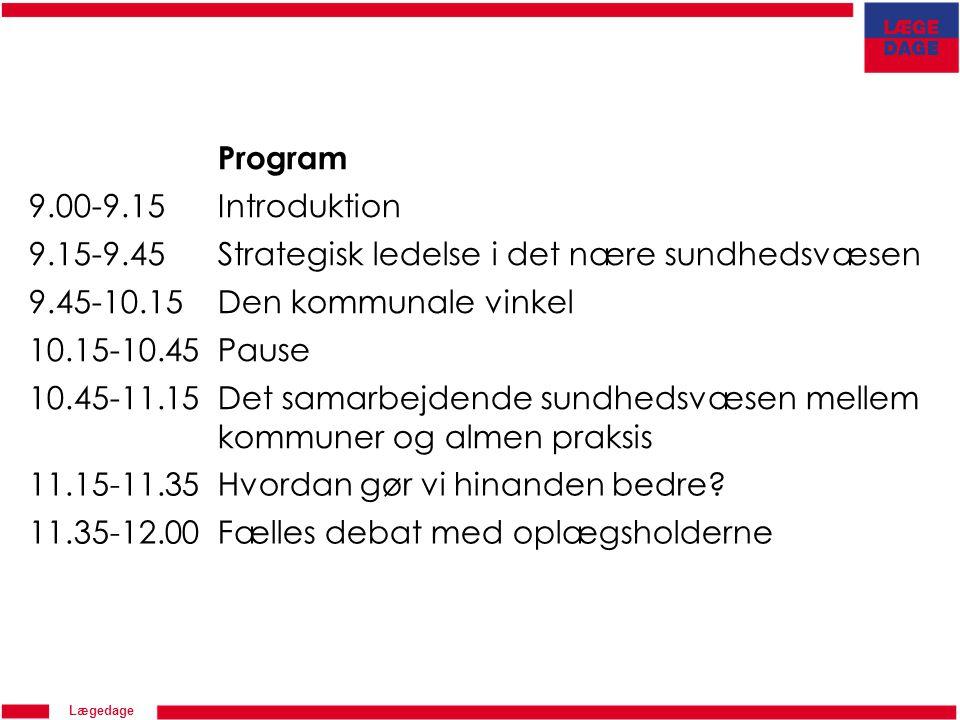 Program 9.00-9.15. Introduktion. 9.15-9.45. Strategisk ledelse i det nære sundhedsvæsen. 9.45-10.15.
