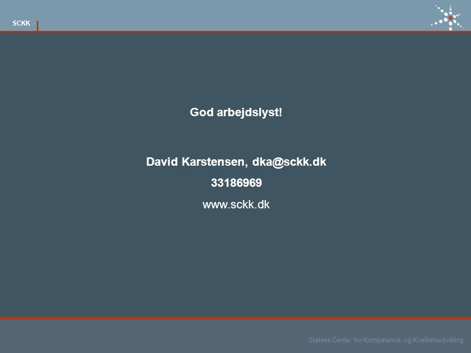 David Karstensen, dka@sckk.dk