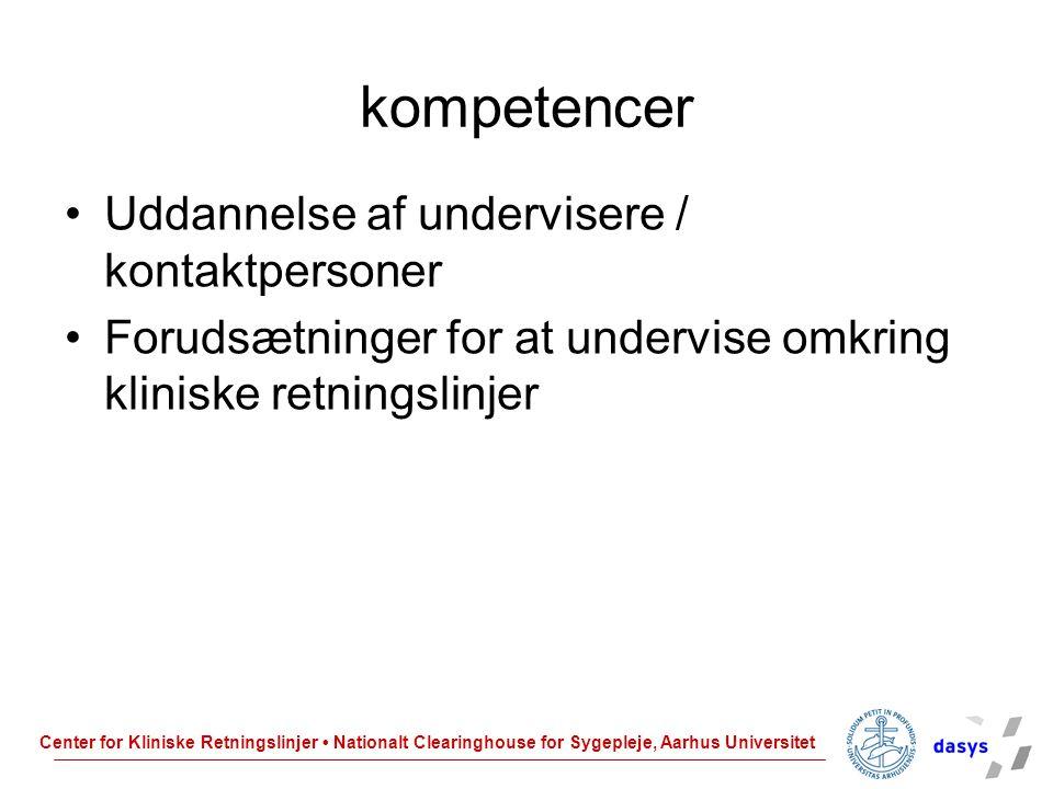 kompetencer Uddannelse af undervisere / kontaktpersoner
