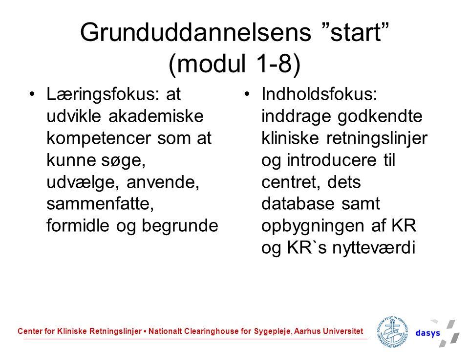 Grunduddannelsens start (modul 1-8)