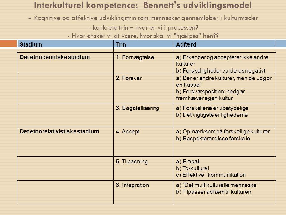 Interkulturel kompetence: Bennett s udviklingsmodel - Kognitive og affektive udviklingstrin som mennesket gennemløber i kulturmøder - konkrete trin – hvor er vi i processen - Hvor ønsker vi at være, hvor skal vi hjælpes hen