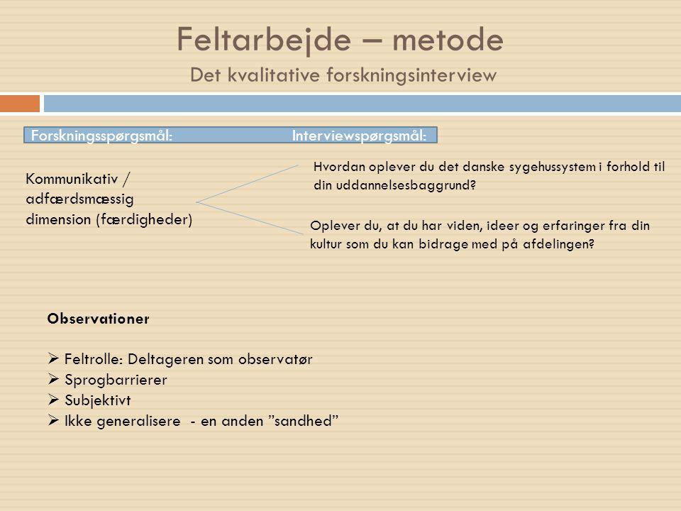 Feltarbejde – metode Det kvalitative forskningsinterview