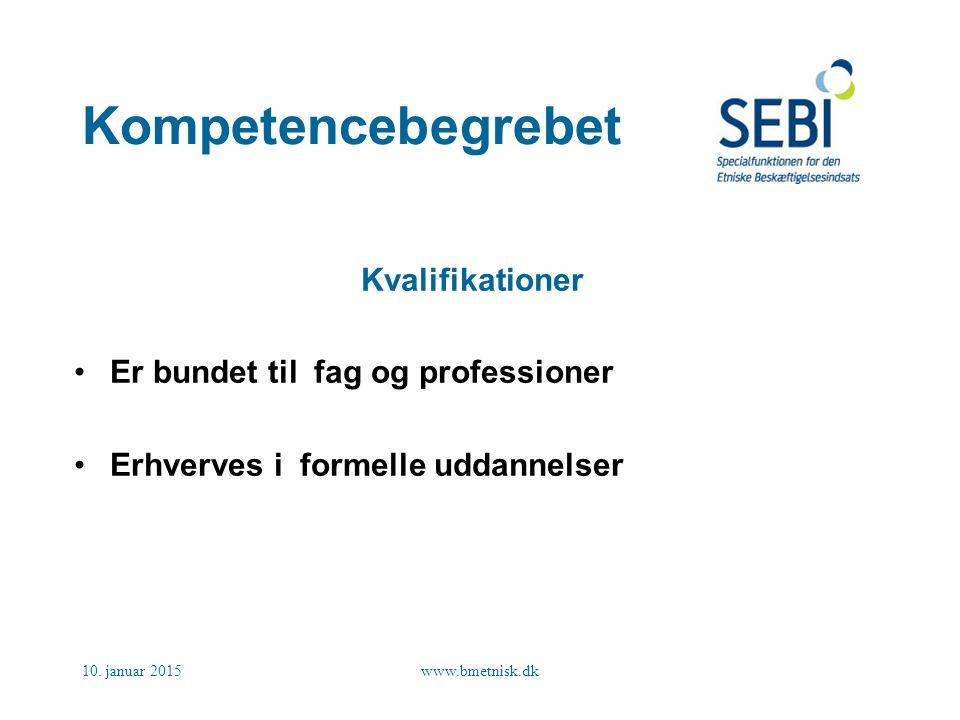 Kompetencebegrebet Kvalifikationer Er bundet til fag og professioner