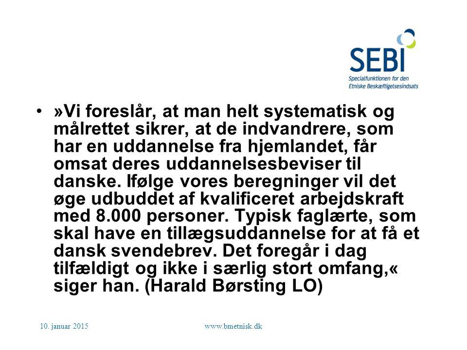 »Vi foreslår, at man helt systematisk og målrettet sikrer, at de indvandrere, som har en uddannelse fra hjemlandet, får omsat deres uddannelsesbeviser til danske. Ifølge vores beregninger vil det øge udbuddet af kvalificeret arbejdskraft med 8.000 personer. Typisk faglærte, som skal have en tillægsuddannelse for at få et dansk svendebrev. Det foregår i dag tilfældigt og ikke i særlig stort omfang,« siger han. (Harald Børsting LO)