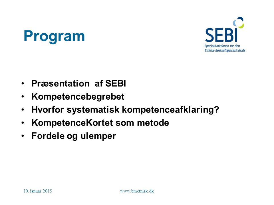 Program Præsentation af SEBI Kompetencebegrebet