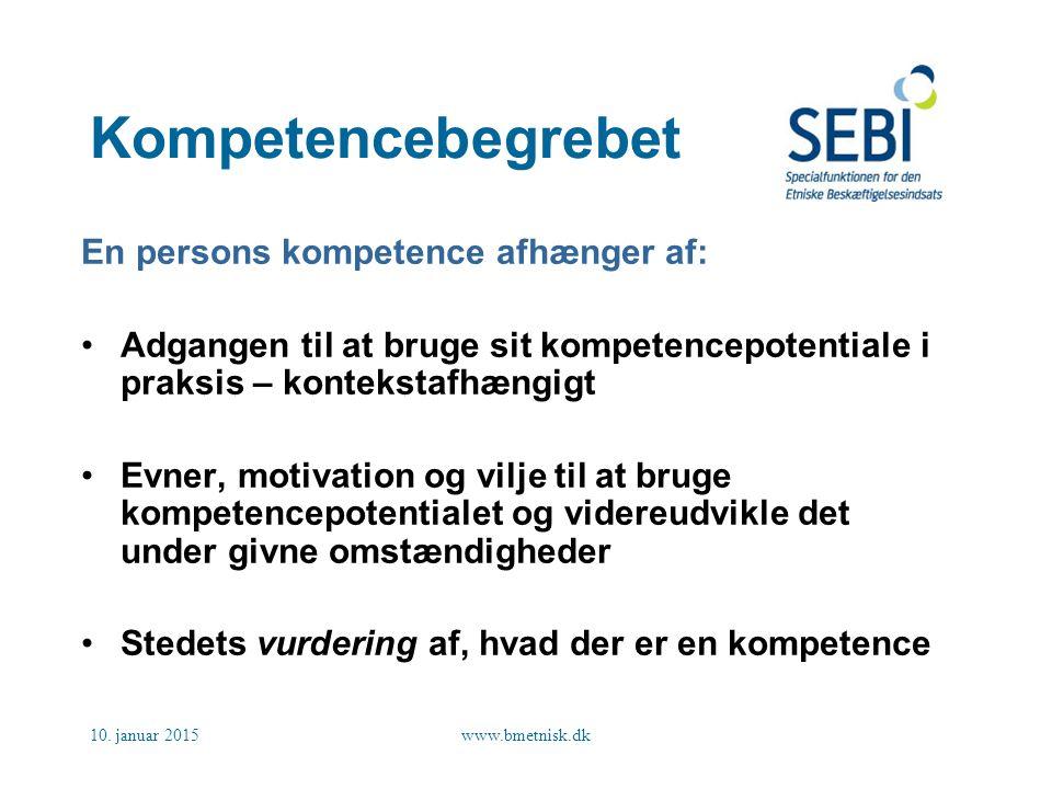 Kompetencebegrebet En persons kompetence afhænger af: