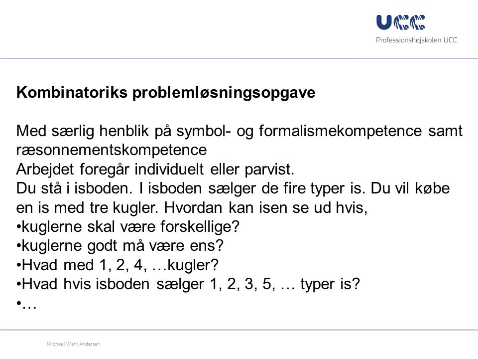 Kombinatoriks problemløsningsopgave