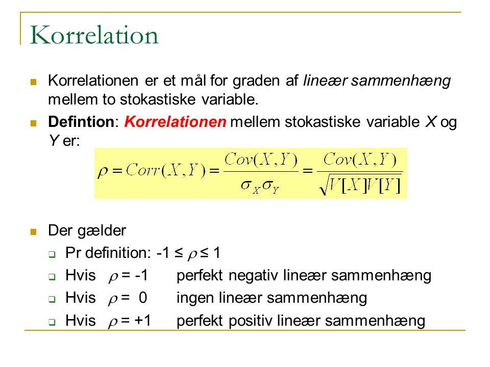 Korrelation Korrelationen er et mål for graden af lineær sammenhæng mellem to stokastiske variable.