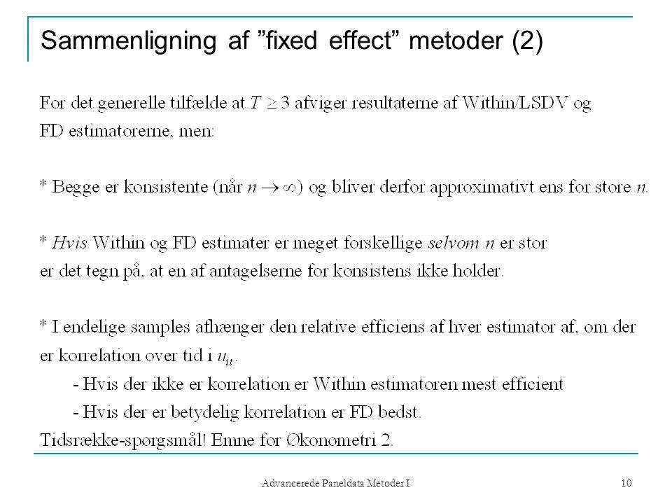 Sammenligning af fixed effect metoder (2)