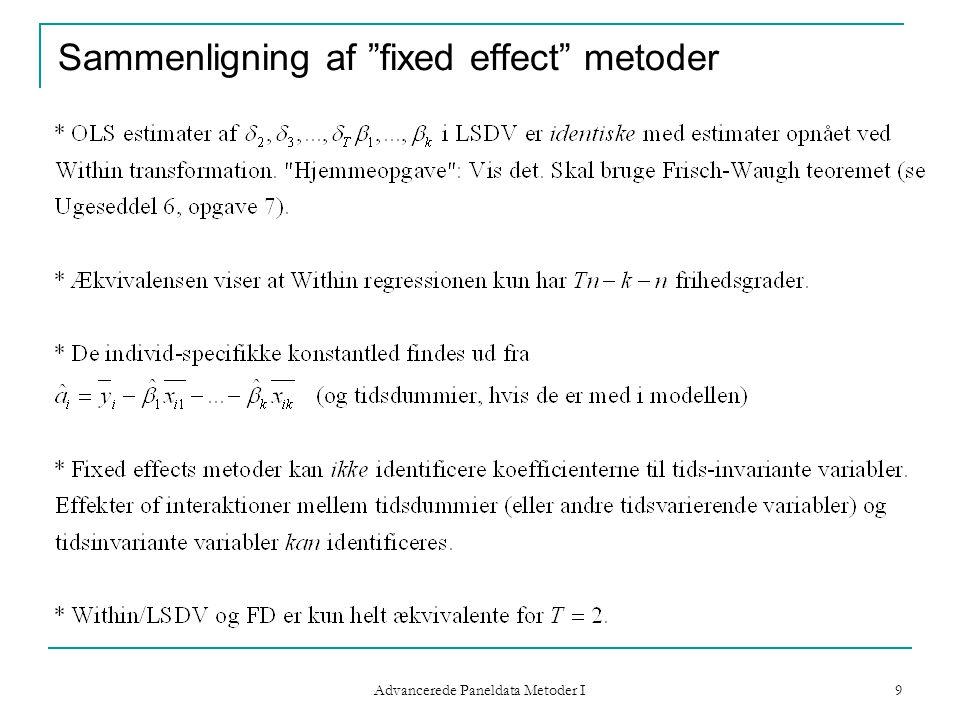 Sammenligning af fixed effect metoder