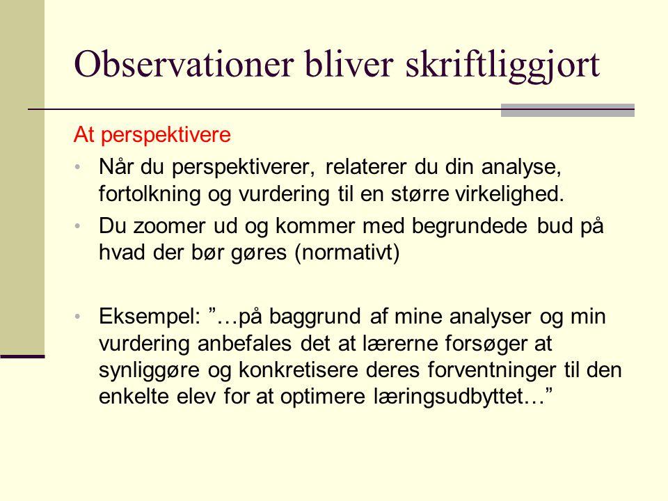 Observationer bliver skriftliggjort
